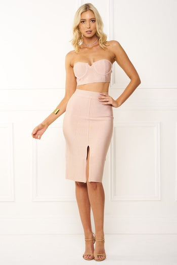 Honey Couture EMILIA Pink Crop Top & Bandage Pencil Skirt Set Australian Online Store Honey Couture AfterPay ZipPay