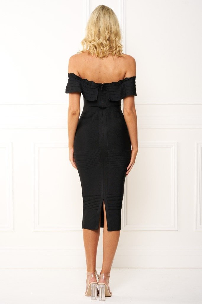 Honey Couture STEPHANIE Black Strapless Frilly Tube Bandage Dress Australian Designer Label Online Store AfterPay ZipPay