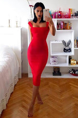 Honey Couture KAYLA White Thick Strap Midi Bandage Dress Australian Online Store Honey Couture AfterPay ZipPay