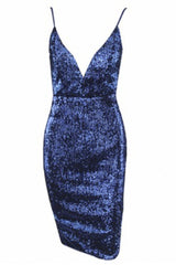 Honey Couture MYLA Blue Sequin Low Back Mini Dress