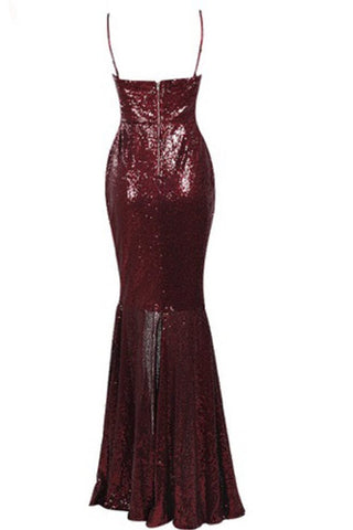 Honey Couture ALLISON Red Sequin Formal Gown Dress w SlitHoney CoutureHoney Couture AfterPay OxiPay ZipPay