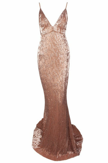 Honey Couture ROSALIE Champagne Gold Low Back Sequin Formal Gown Dress Australian Online Store Honey Couture AfterPay ZipPay