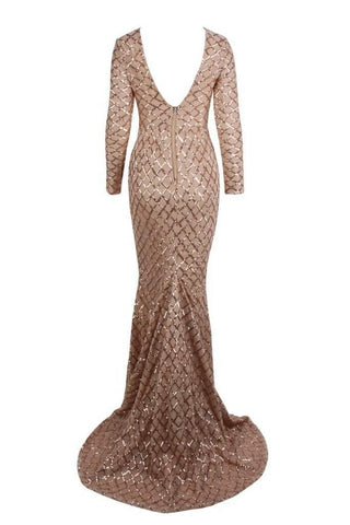 Honey Couture DEON Gold Sequin Overlay Long Sleeve Formal Gown DressHoney CoutureHoney Couture AfterPay OxiPay ZipPay