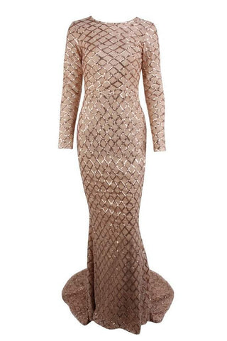 Honey Couture DEON Gold Sequin Overlay Long Sleeve Formal Gown Dress Honey Couture AfterPay ZipPay OxiPay Sezzle Free Shipping
