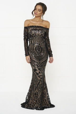 Honey Couture MISHKA Black Sequin Formal Gown DressHoney CoutureHoney Couture AfterPay OxiPay ZipPay