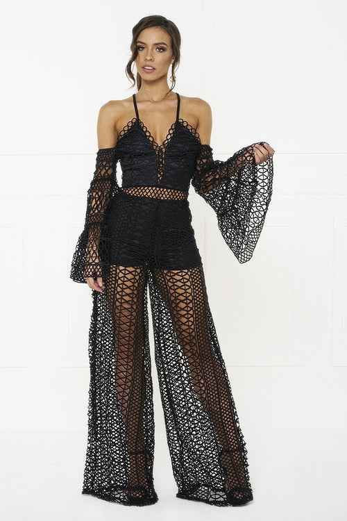 Honey Couture AUBREY Black Jumpsuit