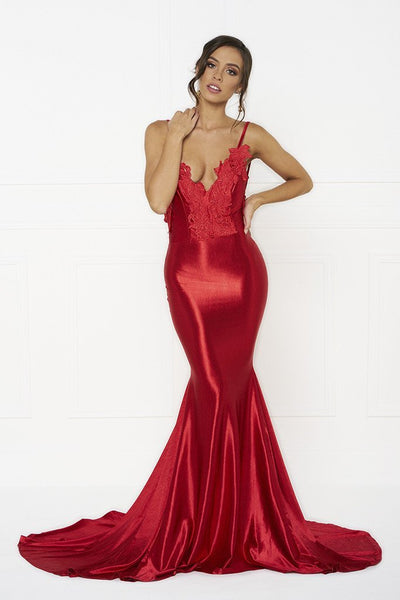 Honey Couture PENELOPE Red Applique Formal Gown Dress