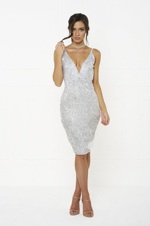Honey Couture MYLA Silver Sequin Low Back Mini Dress Australian Online Store Honey Couture AfterPay ZipPay