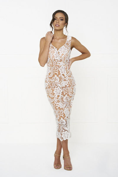 Honey Couture ELLA Nude with White Off Shoulder Lace Lover Dress