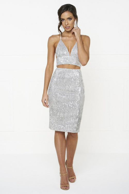 Honey Couture KELSEY Silver Sequin Crop Top and Skirt Set