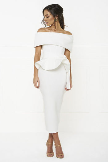 Honey Couture CAMILLA White Strapless Peplum Midi Dress