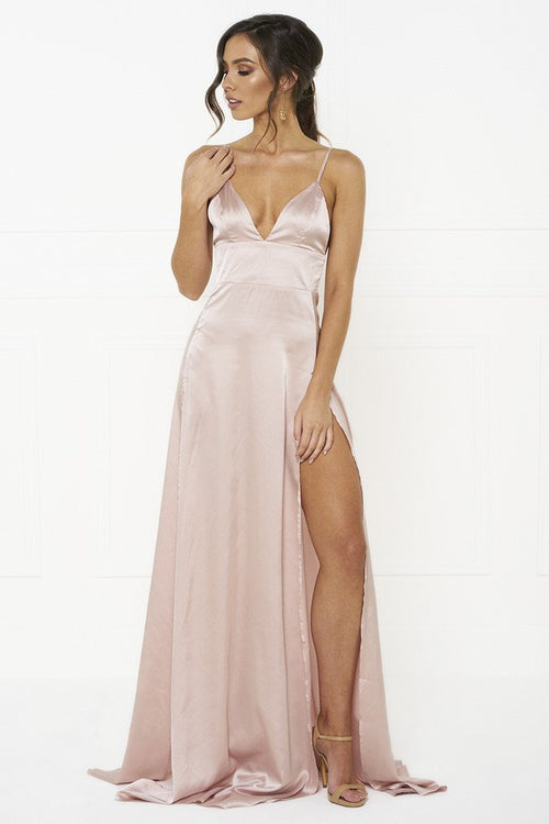 Honey Couture TANYA Pink Satin Style Formal Gown Dress