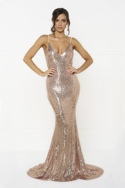 Honey Couture KRISTY Gold Low Back Bow Sequin Formal Gown Dress