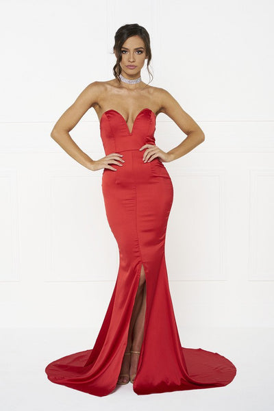 Honey Couture MELINA Red Strapless Formal Gown Dress