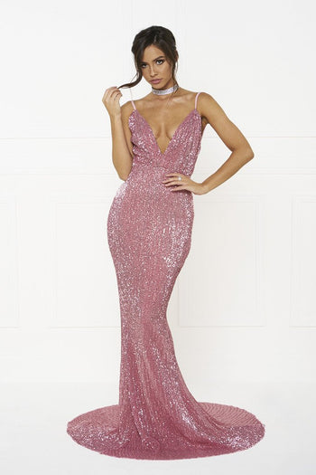 Honey Couture ROSALIE Pink Low Back Sequin Formal Gown Dress