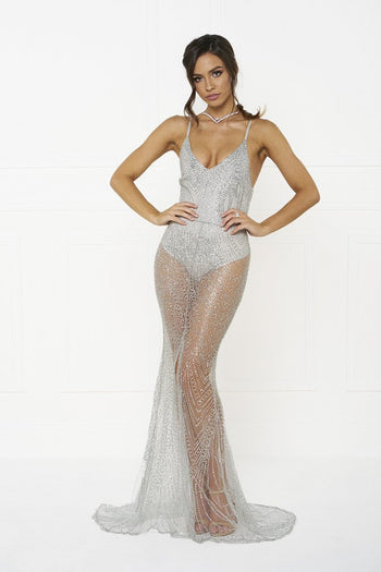 Honey Couture EVELYN Silver Glitter Sheer Formal Dress