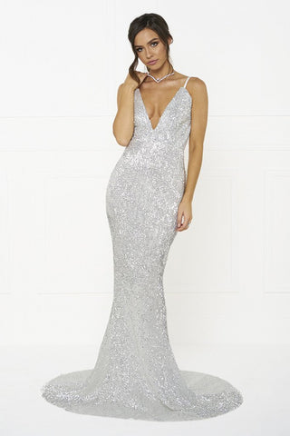 Honey Couture ROSALIE Silver Low Back Sequin Formal Gown DressHoney CoutureHoney Couture AfterPay OxiPay ZipPay