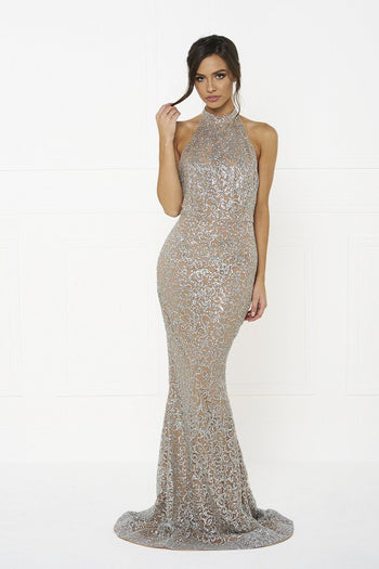 Honey Couture EMMA Nude and Silver Glitter Open Back Formal Gown Dress