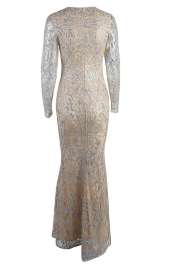Honey Couture LOLA Gold Sheer Glitter Long Sleeve Gown Dress Australian Online Store Honey Couture AfterPay ZipPay
