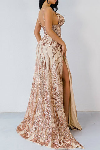 Honey Couture ABBY Gold Mermaid Sequin Formal Gown Dress Honey Couture Honey Couture AfterPay ZipPay OxiPay Sezzle Free Shipping