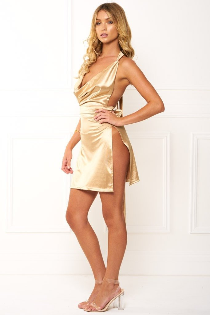 Honey Couture FELICIA Flash Gold Halter Mini Dress Australian Designer Label Online Store AfterPay ZipPay