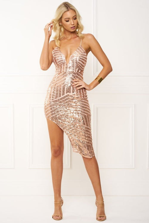 Honey Couture GEORGIA Geometric Gold Sequin Midi Dress Australian Online Store Honey Couture AfterPay ZipPay