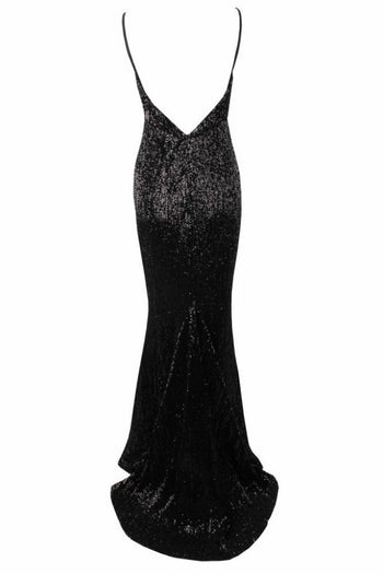 Honey Couture ROSALIE Black Low Back Sequin Formal Gown Dress