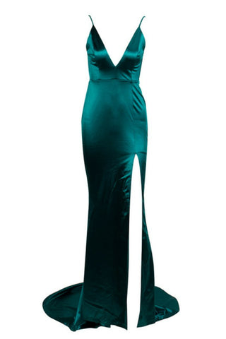 Honey Couture MILEE Emerald Green Split Low Back Mermaid Evening Gown AfterPay OxiPay ZipPay