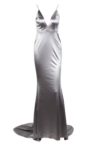 Honey Couture MILEE Silver Grey Low Back Mermaid Evening Gown Dress