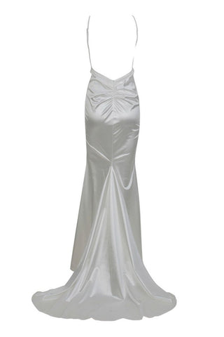 Honey Couture MILEE White Split Low Back Mermaid Evening Gown Dress