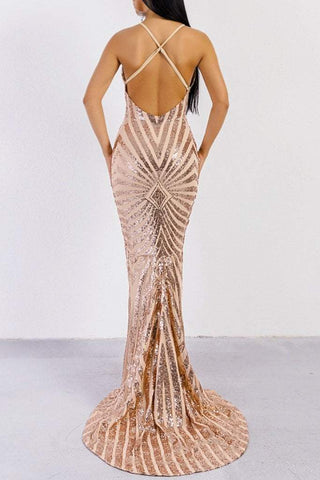 Honey Couture LILLEY Gold Sequin Low Back Mermaid Evening Gown DressHoney CoutureHoney Couture AfterPay OxiPay ZipPay
