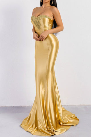 Honey Couture LUXY Gold Strapless Shiny Mermaid Evening Gown DressHoney CoutureHoney Couture AfterPay OxiPay ZipPay