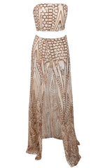 Honey Couture MIKA Gold Sequin Crop & Maxi Skirt Set Australian Online Store Honey Couture AfterPay ZipPay