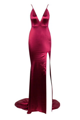 Honey Couture MILEE Berry Split Low Back Mermaid Evening Gown Dress