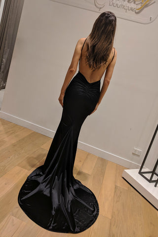 Honey Couture MILEE Black Low Back Mermaid Evening Gown Dress