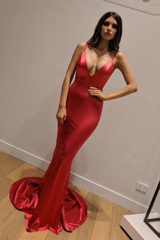 Honey Couture MILEE Metallic Red Low Back Mermaid Evening Gown Dress