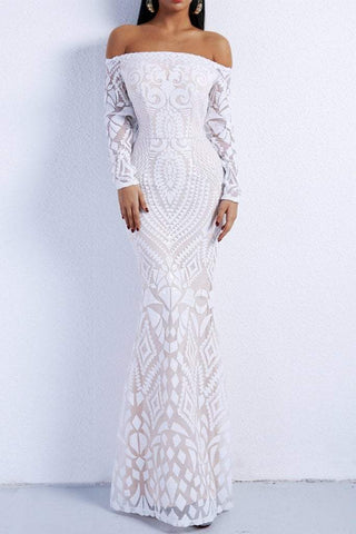 Honey Couture MISHKA White Sequin Formal Gown DressHoney CoutureHoney Couture AfterPay OxiPay ZipPay