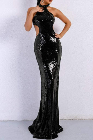 Honey Couture MONICE Black Cut Out Halter Neckline Sequin Formal Gown DressHoney CoutureHoney Couture AfterPay OxiPay ZipPay