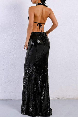 Honey Couture MONICE Black Cut Out Halter Neckline Sequin Formal Gown Dress Honey Couture Honey Couture AfterPay ZipPay OxiPay Sezzle Free Shipping