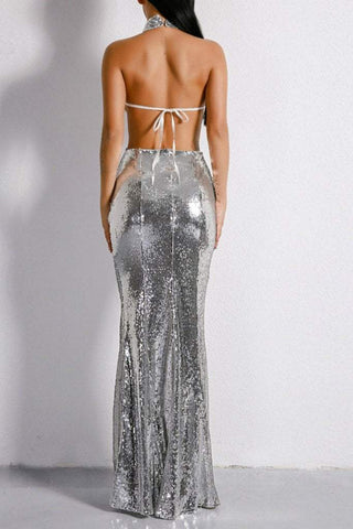 Honey Couture MONICE Silver Cut Out Halter Neckline Sequin Formal Gown DressHoney CoutureHoney Couture AfterPay OxiPay ZipPay