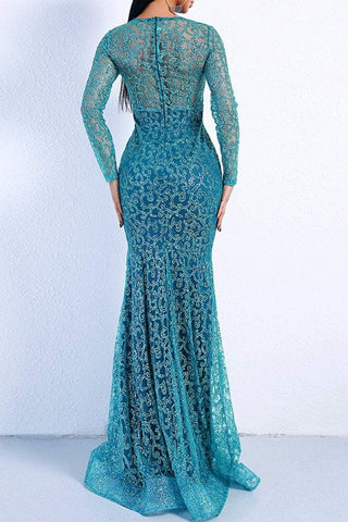 Honey Couture MUNROE Green Sequin Long Sleeve Evening Gown DressHoney CoutureHoney Couture AfterPay OxiPay ZipPay