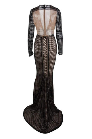 Honey Couture PETRA Black Crochet Sheer Long Sleeve Formal Gown DressHoney CoutureHoney Couture AfterPay OxiPay ZipPay