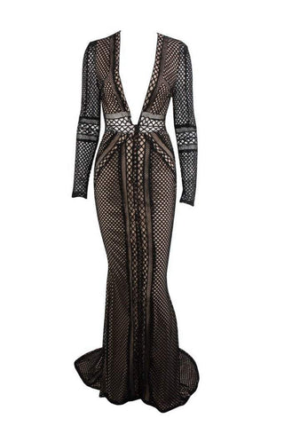 Honey Couture PETRA Black Crochet Sheer Long Sleeve Formal Gown Dress Honey Couture AfterPay ZipPay OxiPay Sezzle Free Shipping