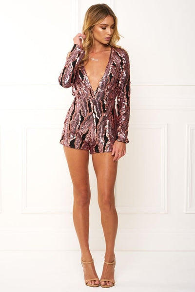 Honey Couture ROXANNE Pink Long Sleeve Sequin Playsuit Australian Online Store Honey Couture AfterPay ZipPay