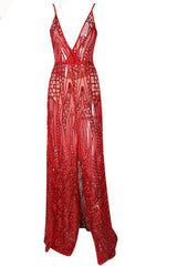 Honey Couture ALINA Red 3D Crystal Effect Evening Gown Dress Australian Online Store Honey Couture AfterPay ZipPay