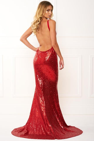Honey Couture ELIZABETH Red Low Back Sequin Formal Gown DressHoney CoutureHoney Couture AfterPay OxiPay ZipPay
