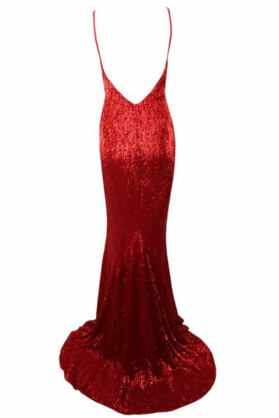 Honey Couture ROSALIE Red Low Back Sequin Formal Gown Dress