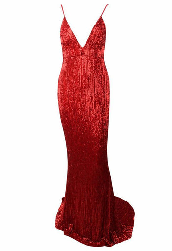 Honey Couture ROSALIE Red Low Back Sequin Formal Gown Dress Australian Online Store Honey Couture AfterPay ZipPay