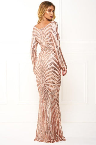 Honey Couture IMOGEN Rose Gold Sequin Long Sleeve Evening Gown DressHoney CoutureHoney Couture AfterPay OxiPay ZipPay