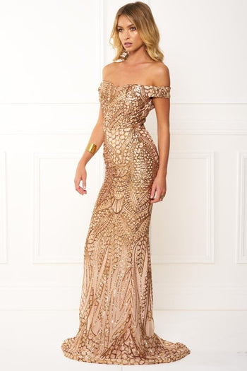 Honey Couture HAILEY Rose Gold Sheer Sequin Off Shoulder Evening Gown Dress Australian Online Store Honey Couture AfterPay ZipPay